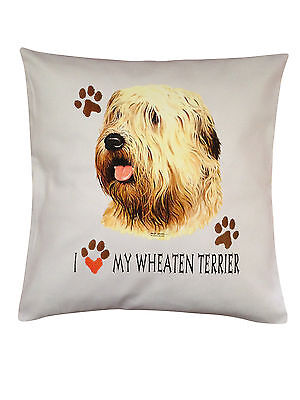 Wheaten Terrier Heart Breed of Dog Cotton Cushion Cover - Perfect Gift