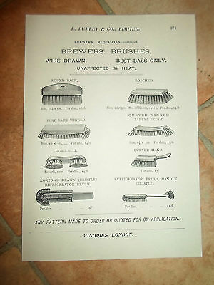Vintage BREWERS' BRUSHES Images Copy Print L Lumley & Co Minories London #371