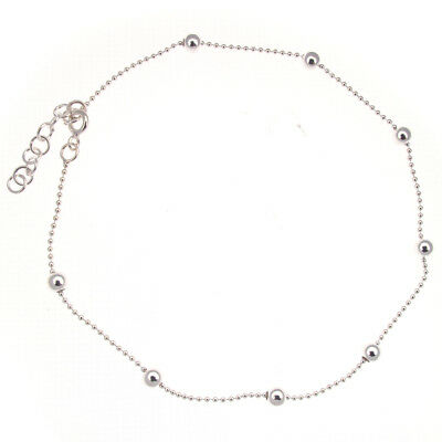 """Sterling Silver 925 Ball Link Bead Ankle Chain / Anklet - 9"""" with 1"""" Extender"""
