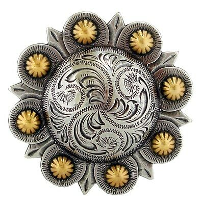 """Western Berry Design Antique Silver and Gold Plated Decorative Belt Buckle, 3"""""""