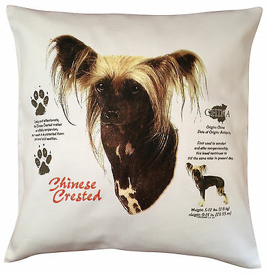 Chinese Crested History Breed of Dog Cotton Cushion Cover - Perfect Gift