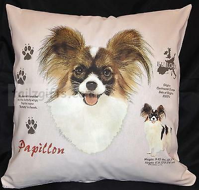 Papillon History Breed of Dog Cotton Cushion Cover - Perfect Gift