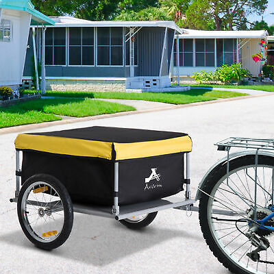 Bicycle Cargo Trailer Bike Large Carrier Cart w/ Rain Cover Outdoor Yard