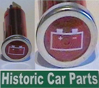 Ignition On Battery Warning Light Red Dashboard with white Icon 1960-80s