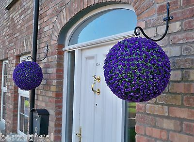 2 Best Artificial 38cm Purple Rose Topiary Hanging Flower Balls Grass Plant New