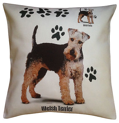 Welsh Terrier Paws Breed of Dog Cotton Cushion Cover - Perfect Gift