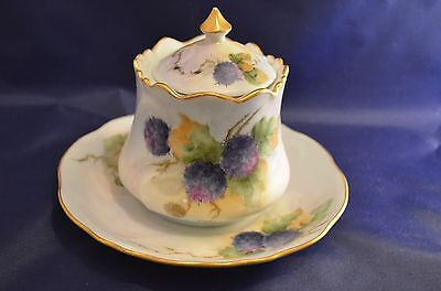 SIGNED HAND PAINTED PURPLE YELLOW FLORAL WITH GOLD TRIM SUGAR BOWL AND PLATE