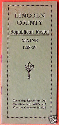 1928-29 Maine Lincoln County Republican Roster