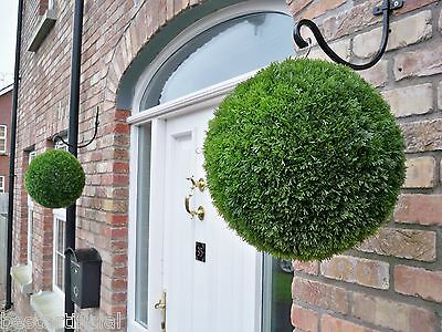 2 Best Artificial 38cm Conifer Topiary Ball alt Boxwood Grass Hanging Basket New