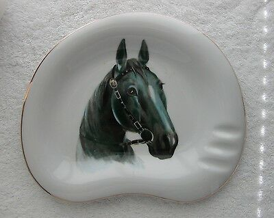 Vintage BLACK GRAY HORSE HEAD ~ PLATE~  ASHTRAY ~ AWESOME!