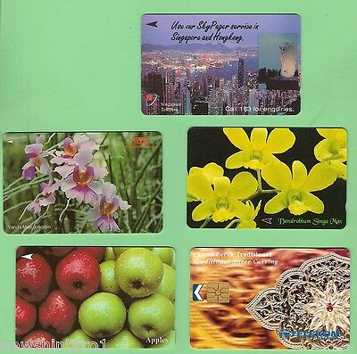 #D98.  Five Used  Phonecards - Singapore & Malaysia