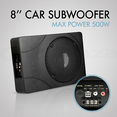 "8"" Inch Car Enclosure Subwoofer Sub Woofer 500W Amplifier Slim Amp Audio"