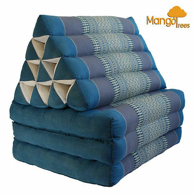 Thai Triangle Pillow Fold Out Mattress Cushion Day Bed THREE FOLDS L Size Blue