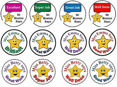 70 Personalised Reward Teacher Stickers Star 3 FOR 2 Labels Well Done Label gift