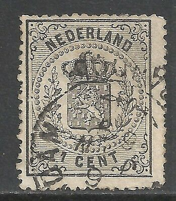 Netherlands 1869 NVPH 14P1 Plate Error Split lower frame line  CANC  F/VF