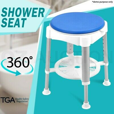 Adjustable Shower Stool Chair 360 Degree Rotating Swivel Seat Bath Aid Aluminium