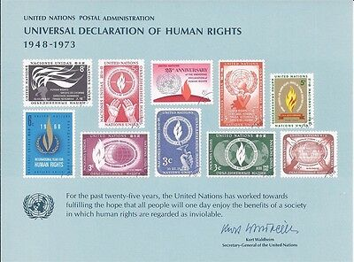 United Nations Souvenir Card #4 - Declaration of Human Rights  - Mint Unused
