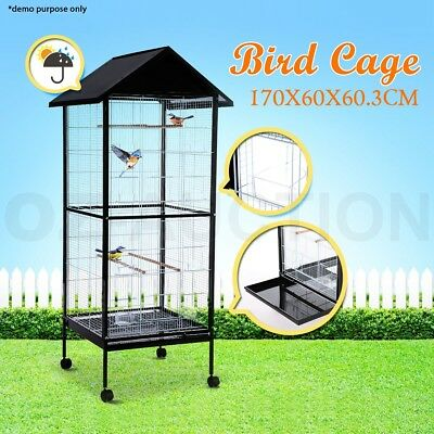 Large Stand-Alone Bird Cage Parrot Budgie Canary Aviary Caster Wheels 170cm