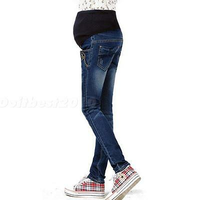 New Fashion Denim Jeans Maternity Pregnant Womens Belly Casual Jeans DTEG
