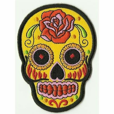 Ecusson Patche Patch Thermocollant Skull Mexican Tattoo Jaune Yellow 9 X 6,5 Cms