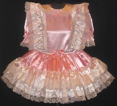 PINK & White Satin Ruffles Lace & Bows Adult Baby Sissy Dress LEANNE