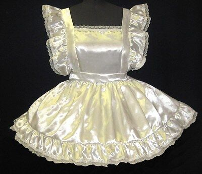 *Custom Fit* White Satin Pinafore Adult Baby Sissy Dress LEANNE