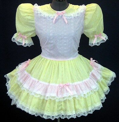 Custom Fit* PINK & Yellow Adult Baby Sissy Dress LEANNE