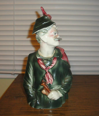Vintage German Tyroliam Mountain Man Decanter Alpine Holds Pipe