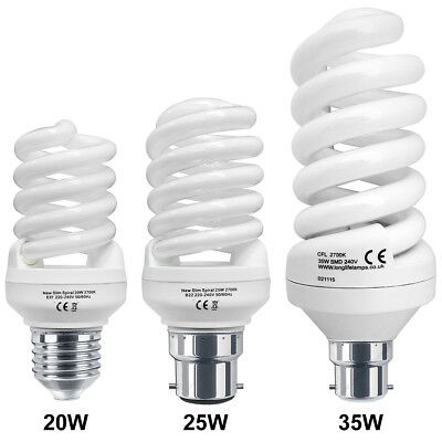 Energy Saving Spiral Light Bulb in 20w, 25w, 35w Cap B22 or E27