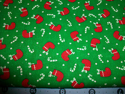 Little Red Stockings & Candy Canes Christmas Cotton Quilt Fabric
