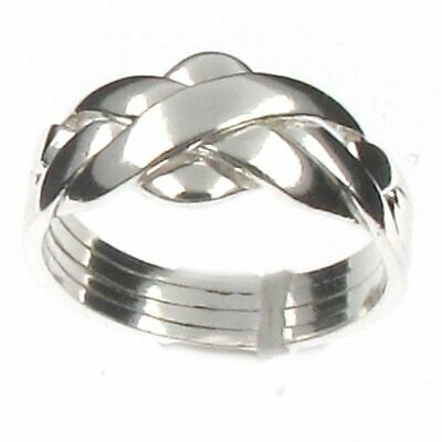 Sterling Silver 4 Band Puzzle Ring - Classic Design -  Choose Your Sizes L to X