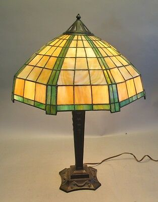 "Massive 29"" Signed Handel Lamp w/ Bronze  c. 1915  Antique Leaded Stained Glass"