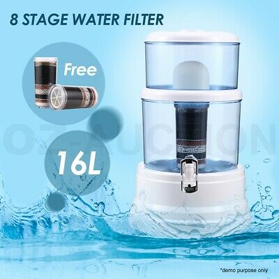 16L 8 Stage Water Dispenser Purifier Filter Bottle Benchtop Carbon Filters Stone