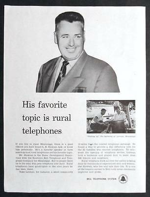 Original 1954 Telephone Ad Photo Endorsed by S L Slawson of Lorman, Mississippi