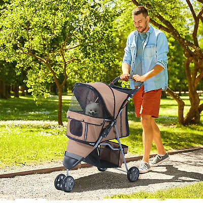Pawhut 3 Wheels Folding Dog Pet Stroller Jogger Travel Carrier W/ Brake & Canopy