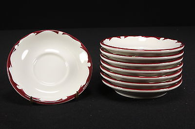 NOS Restaurant Ware Buffalo China Set of 8 Saucers Maroon Red Crest