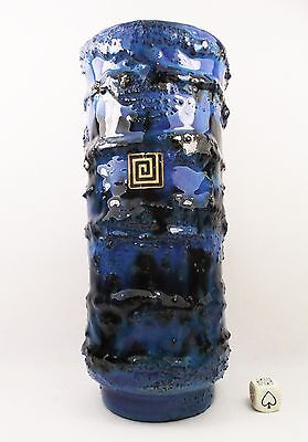 Carstens Atelier 70s West German Pottery Fat Lava Vase by Gerda Heuckeroth. 24cm