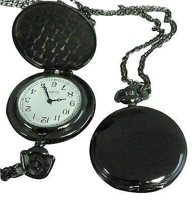 Custom Engraved black fob watch / pocket watch / pendant with velvet gift pouch