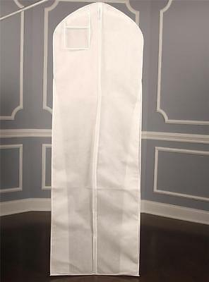 Bridal Gown Dress Breathable White Zippered Garment Bag With Plastic Pocket