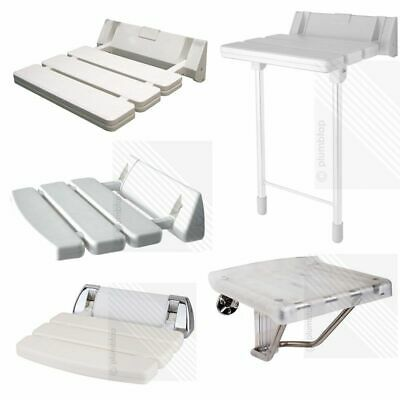 Wall Mounted Bathroom Fold Down Shower Seat | White & Chrome | holds upto 180kgs