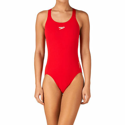 028960 Speedo Womens End+ Chlorine Resistant Medalist Swimming Costume - Red