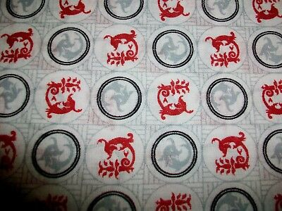 Red Dragon Design Cotton Fabric