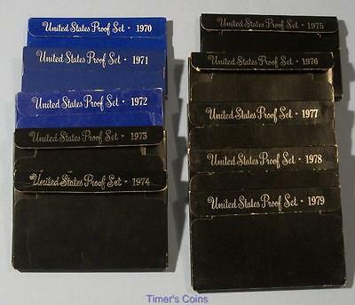 1970 Through 1979 PROOF sets Lot of 10 Sets