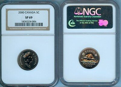 2000 Canada  Five Cents Ngc Sp69  Finest Graded