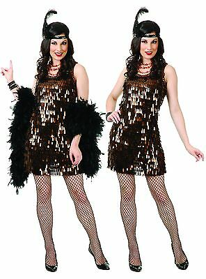 New Brown Tear Drop Sequin Flapper by Charades 02523 1920/'s Costumania