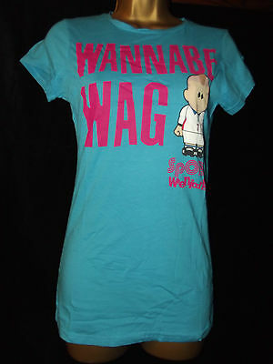 NEW LADIES GIRLS Ex-STORE WEENICONS WANNABE WAG FOOTIE T-SHIRT TOP * SZ 10