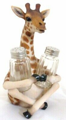 Wild Giraffe Far Reach Flavor Salt and Pepper Shakers Holder Decor Figurine