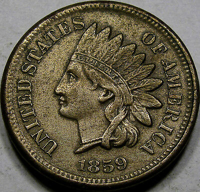 1859 CN Indian Head Cent Nice AU coin... 1 Year Type Coin, a Pleasing example!!!