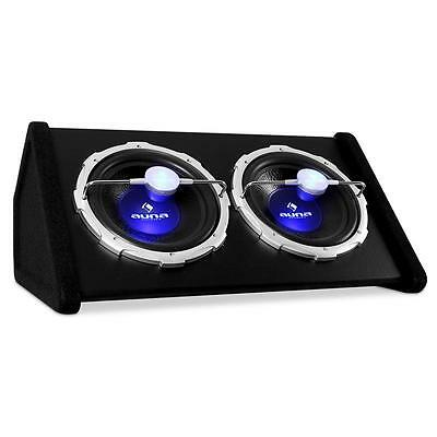 2000W SUBWOOFER 2x30CM BASS BOX AUTO CAR HIFI KISTE LED