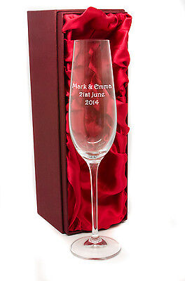 Personalised Tall Crystal Champagne Flutes Glass Engraved With Gift